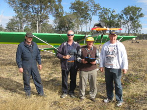 Board Member Tony King with our oldest pilot Glen Noble, Andre Maertens and a pilot who flew in with his Drifter