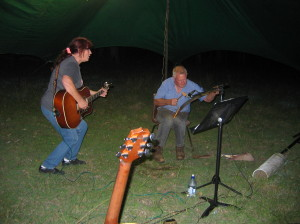 Ralph with his singing saw and Scotchy Pocket Songbird Saturday night at the BP fly in
