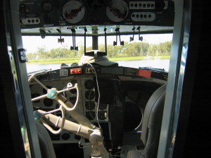 Looking out of the Mallard cockpit