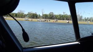 View from the Grumman 'Mallard' back to the shores of Lake Barambah