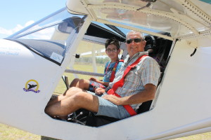 Steve enjoying taking some of the kids for a buzz around Murgon