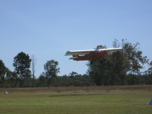 Peter Young flying out of Angelfield after spending a cool Friday night camping