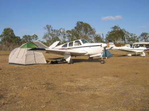 This Bonanza 'V' tail fought the high winds to camp over night, all that did had next to perfect landings