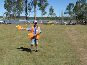 Steve directing air traffic safely at Lake Barambah Flyin/Splashin
